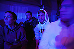 Greek students (2nd from left): Thodoris Georgitsis,18, and Dinos Athanasiou,18, watch a Live concert in Ioannina.