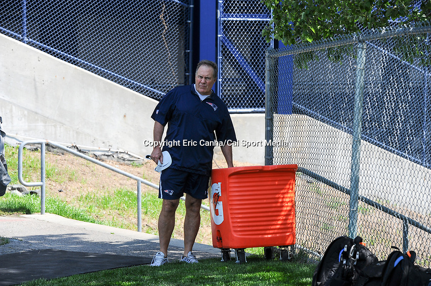 June 13, 2017: New England Patriots head coach Bill Belichick stops for some ice on his way to his press conference at the New England Patriots organized team activity held on the practice field at Gillette Stadium, in Foxborough, Massachusetts. Eric Canha/CSM