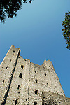 Rochester Castle and blue sky viewed from below