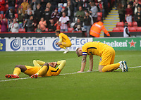 Preston North End's players despair as the game ends<br /> <br /> Photographer Mick Walker/CameraSport<br /> <br /> The EFL Sky Bet Championship - Sheffield United v Preston North End - Saturday 22 September 2018 - Bramall Lane - Sheffield<br /> <br /> World Copyright &copy; 2018 CameraSport. All rights reserved. 43 Linden Ave. Countesthorpe. Leicester. England. LE8 5PG - Tel: +44 (0) 116 277 4147 - admin@camerasport.com - www.camerasport.com