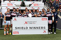 United States celebrate winning the Shield competition during Day Two of the iRB Marriott London Sevens at Twickenham on Sunday 11th May 2014 (Photo by Rob Munro)