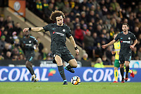 David Luiz of Chelsea runs with the ball during Norwich City vs Chelsea, Emirates FA Cup Football at Carrow Road on 6th January 2018