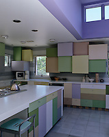 Typical of architect Don Chapell, the colour scheme of this kitchen reflects the landscape seen through the window