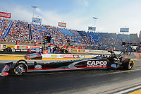 Jun. 29, 2012; Joliet, IL, USA: NHRA top fuel dragster driver Steve Torrence (near lane) races alongside Antron Brown during qualifying for the Route 66 Nationals at Route 66 Raceway. Mandatory Credit: Mark J. Rebilas-