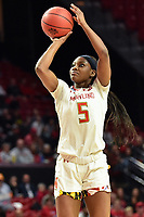 College Park, MD - March 23, 2019: Maryland Terrapins guard Kaila Charles (5) hits a jump shot during first round action of game between Radford and Maryland at Xfinity Center in College Park, MD. Maryland defeated Radford 73-51. (Photo by Phil Peters/Media Images International)