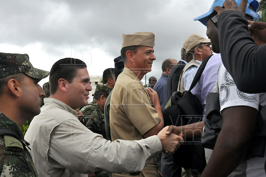 QUIBDO-COLOMBIA. 9-01-2014.El presidente de la Republica, acompa–ado por el ministro de Defensa, y altos mandos Militares y de Policia activaron la Fuerza de Tarea Conjunta Titan en  Quibdo, capital del departamento de Choco/ The President of the Republic, accompanied by Defense Minister and senior military commanders and police activated the JTF Titan in Quibdo, capital of the department of Choco.Photo: Mauricio Orjuela / Ministerio de Defensa Nacional