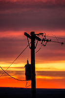 Electric powelines at sunset.