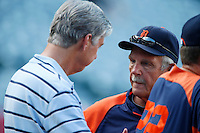 Detroit Tigers Manager Jim Leyland #10 talks with Tigers General Manager Dave Dombrowski before a game against the Los Angeles Angels at Angel Stadium on September 7, 2012 in Anaheim, California. Los Angeles defeated Detroit 3-2. (Larry Goren/Four Seam Images)