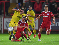 Fleetwood Town's Jordan Rossiter battles with Accrington Stanley's Ben Barclay<br /> <br /> <br /> Photographer Dave Howarth/CameraSport<br /> <br /> EFL Leasing.com Trophy - Northern Section - Group B - Tuesday 3rd September 2019 - Accrington Stanley v Fleetwood Town - Crown Ground - Accrington<br />  <br /> World Copyright © 2019 CameraSport. All rights reserved. 43 Linden Ave. Countesthorpe. Leicester. England. LE8 5PG - Tel: +44 (0) 116 277 4147 - admin@camerasport.com - www.camerasport.com