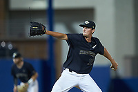Wake Forest Demon Deacons relief pitcher Carter Bach (18) in action against the Florida Gators in Game Three of the Gainesville Super Regional of the 2017 College World Series at Alfred McKethan Stadium at Perry Field on June 12, 2017 in Gainesville, Florida. The Gators defeated the Demon Deacons 3-0 to advance to the College World Series in Omaha, Nebraska. (Brian Westerholt/Four Seam Images)