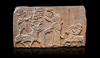 """Aslantepe Hittite relief sculpted orthostat stone panel. Limestone, Aslantepe, Malatya, 1200-700 B.C. Anatolian Civilisations Museum, Ankara, Turkey.<br /> <br /> Scene of king's offering drink and sacrifice to the god. The god is on the deer, with the bow attached to his shoulder and with a triple bundle of lightning in his hand. The king looks at the god, and makes the libation to the god while carrying a scepter with a curled end - lituus. Behind the king is a servant holding a goat for sacrifice to the god. Hieroglyphs read; """"God Parata, Strong King... """". <br /> <br /> Against a black background."""