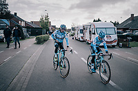 Eli Iserbyt (BEL/Marlux-Napoleon Games) &amp; Michael Vanthourenhout (BEL/Marlux-Napoleon Games) on their way to the course recon<br /> <br /> Super Prestige Ruddervoorde / Belgium 2017