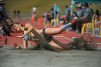 Wellington's Anna Thomson competes in the women's triple jump on day three of the 2015 National Track and Field Championships at Newtown Park, Wellington, New Zealand on Sunday, 8 March 2015. Photo: Dave Lintott / lintottphoto.co.nz