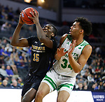 SIOUX FALLS, SD - MARCH 8: Deonte Billups #15 of the PFW Mastodons takes the ball to the basket past De'Sean Allen-Eikens #34 of the North Dakota Fighting Hawks at the 2020 Summit League Basketball Championship in Sioux Falls, SD. (Photo by Richard Carlson/Inertia)