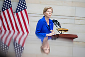 United States Senator Elizabeth Warren (Democrat of Massachusetts), speaks during a ceremony dedicating a chair in the United States Capitol Building to honor United States soldiers labeled as 'Prisoners of War' or 'Missing in Action' at the United States Capitol Building in Washington, D.C. on November 8th, 2017. <br /> Credit: Alex Edelman / CNP
