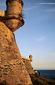 Salvador, Bahia State, Brazil. Look-out turrets; Farol da Barra.