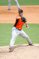 Frederick Keys relief pitcher Lex Rutledge (17) in action against the Winston-Salem Dash at BB&T Ballpark on July 30, 2014 in Winston-Salem, North Carolina.  The Dash defeated the Keys 12-2.   (Brian Westerholt/Four Seam Images)