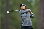 Mai Dechathipat of the Wake Forest Demon Deacons follows through on her tee shot on the fifth hole during second round action at the Ruth's Chris Tar Heel Invitational on October 14, 2017 in Chapel Hill, North Carolina. (Brian Westerholt/Sports On Film)