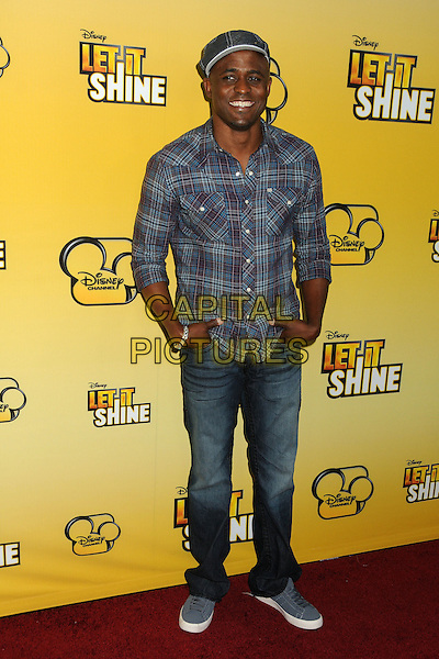 """Wayne Brady.""""Let It Shine"""" Los Angeles Premiere held at the Directors Guild of America, West Hollywood, California, USA..June 5th, 2012.full length blue check shirt jeans denim hat grey gray.CAP/ADM/BP.©Byron Purvis/AdMedia/Capital Pictures."""