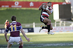 Lelia Masaga goes high to catch a high kick during the Air NZ Cup game between the Counties Manukau Steelers and Southland played at Mt Smart Stadium on 3rd September 2006. Counties Manukau won 29 - 8.