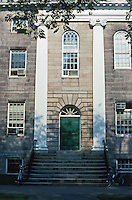 Cambridge:  Harvard Yard-University Hall (1813-14), Charles Bullfinch.  Note long pilasters framing entrance.  Photo '88.