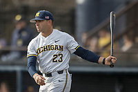 Michigan Wolverines head coach Erik Bakich (23) before the NCAA baseball game against the Michigan State Spartans on April 18, 2017 at Ray Fisher Stadium in Ann Arbor, Michigan. Michigan defeated Michigan State 12-4. (Andrew Woolley/Four Seam Images)