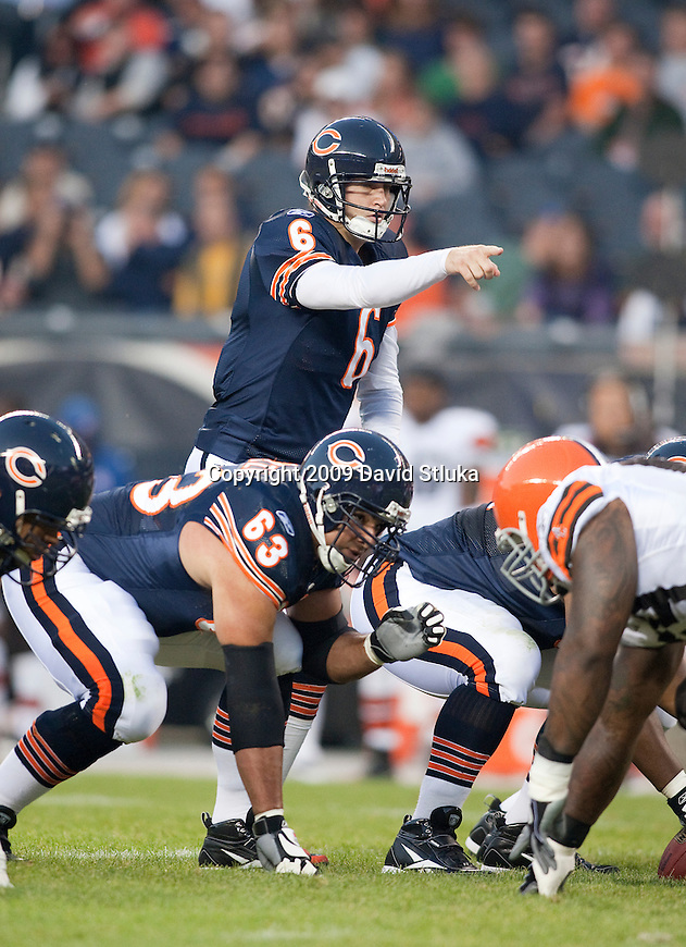 Chicago Bears quarterback Jay Cutler (6) during an NFL preseason football game against the Cleveland Brown at Soldier Field in Chicago, Illinois on September 3, 2009. The Bears won the game 26-23. (AP Photo/David Stluka)