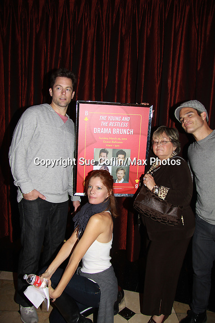 """Drama Brunch - The Young & The Restless stars Greg Rikaart & Michael Muhney and Michelle Stafford pose with Joyce Becker with Soap Opera Festival sign came for the fans with a brunch and photos during the Soap Opera Festivals Weekend - """"All About The Drama"""" on March 25, 2012 at Bally's Atlantic City, Atlantic City, New Jersey.  (Photo by Sue Coflin/Max Photos)"""