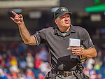 15 September 2013: MLB Umpire Jeff Nelson indicates a lineup change during a game between the Washington Nationals and the Philadelphia Phillies at Nationals Park in Washington, DC. The Nationals took the rubber match of their 3-game series 11-2 to keep their wildcard postseason hopes alive. Mandatory Credit: Ed Wolfstein Photo *** RAW (NEF) Image File Available ***