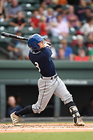 Designated hitter Max George (3) of the Asheville Tourists bats in a game against the Greenville Drive on Wednesday, August 2, 2017, at Fluor Field at the West End in Greenville, South Carolina. Greenville won, 1-0. (Tom Priddy/Four Seam Images)