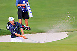 30 August 2009: Zach Johnson hits out of a bunker during the final round of The Barclays PGA Playoffs at Liberty National Golf Course in Jersey City, New Jersey.