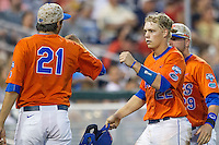 Florida Gators catcher JJ Schwarz (22) after scoring against the Virginia Cavaliers in Game 13 of the NCAA College World Series on June 20, 2015 at TD Ameritrade Park in Omaha, Nebraska. The Cavaliers beat the Gators 5-4. (Andrew Woolley/Four Seam Images)