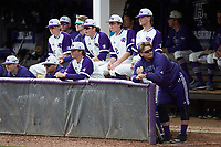 The High Point Panthers bench watches the action from the dugout during the game against the Campbell Camels at Williard Stadium on March 16, 2019 in  Winston-Salem, North Carolina. The Camels defeated the Panthers 13-8. (Brian Westerholt/Four Seam Images)