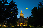July 1, 2020; Fireflies in front of the Main Building (Photo by Matt Cashore/University of Notre Dame)