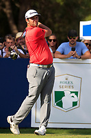 Jon Rahm (ESP) on the 16th tee during the final round of the DP World Tour Championship, Jumeirah Golf Estates, Dubai, United Arab Emirates. 18/11/2018<br /> Picture: Golffile | Fran Caffrey<br /> <br /> <br /> All photo usage must carry mandatory copyright credit (© Golffile | Fran Caffrey)