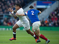 Twickenham, United Kingdom. 7th February, Nathen HUGHES, slips past, Gilhem GUIRADO, during the England vs France, 2019 Guinness Six Nations Rugby Match   played at  the  RFU Stadium, Twickenham, England, <br /> &copy; PeterSPURRIER: Intersport Images