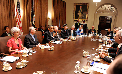United States President Barack Obama speaks during a  Cabinet meeting in the Cabinet Room of the White House in Washington D.C.,  Wednesday, September 15 2010..Credit: Olivier Douliery / Pool via CNP