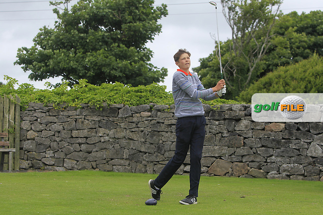 James Temple (Portmarnock) on the 1st tee during R2 of the 2016 Connacht U18 Boys Open, played at Galway Golf Club, Galway, Galway, Ireland. 06/07/2016. <br /> Picture: Thos Caffrey | Golffile<br /> <br /> All photos usage must carry mandatory copyright credit   (&copy; Golffile | Thos Caffrey)