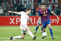 MILANO 28 MARZO 2012, MILAN - BARCELLONA,QUARTI DI FINALE UEFA CHAMPIONS LEAGUE 2011 - 2012, NELLA FOTO:IBRAHIMOVIC , FOTO DI ROBERTO TOGNONI.