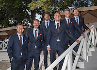 Moscow, Russia, 13 th July, 2016, Tennis,  Davis Cup Russia-Netherlands, Official Diner at Royal Bar , Dutch team posing on the steps ltr: captain Jan Siemerink, Matwe Middelkoop, Robin Haase, Thiemo de Bakker, Tim van Rijthoven, and Wesley Koolhof <br /> Photo: Henk Koster/tennisimages.com