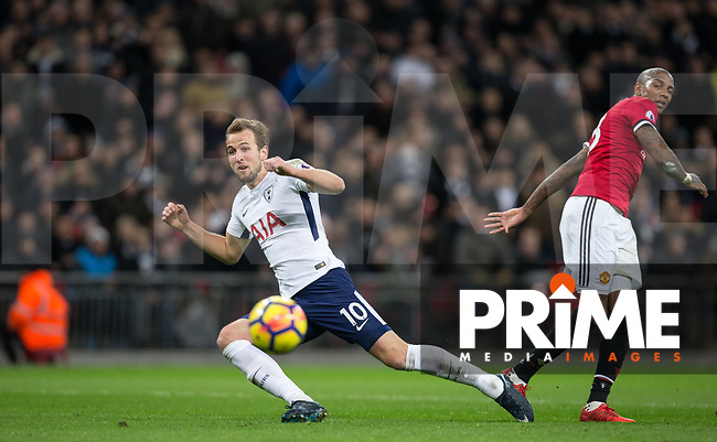 Harry Kane of Spurs and Ashley Young of Man Utd during the Premier League match between Tottenham Hotspur and Manchester United at Wembley Stadium, London, England on 31 January 2018. Photo by Andy Rowland.