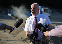 FAO JANET TOMLINSON, DAILY MAIL PICTURE DESK<br /> Pictured: Jon Cousins of South Yorkshire Police briefs the media at the start of day 8 of the search in Kos, Greece. Monday 03 October 2016<br /> Re: Police teams led by South Yorkshire Police, searching for missing toddler Ben Needham on the Greek island of Kos have moved to a new area in the field they are searching.<br /> Ben, from Sheffield, was 21 months old when he disappeared on 24 July 1991 during a family holiday.<br /> Digging has begun at a new site after a fresh line of inquiry suggested he could have been crushed by a digger.