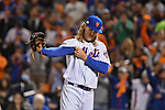 Noah Syndergaard (Mets),<br /> OCTOBER 5, 2016 - MLB :<br /> Pitcher Noah Syndergaard of the New York Mets adjusts his sleeve in the third inning during the National League Wild Card Game against the San Francisco Giants at Citi Field in Flushing, New York, United States. (Photo by Hiroaki Yamaguchi/AFLO)