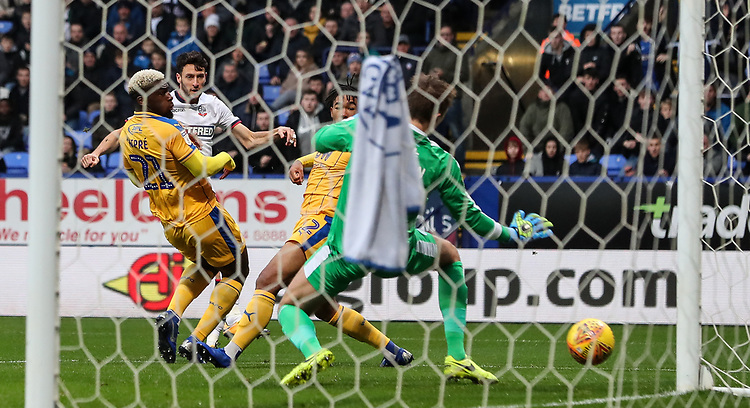 Bolton Wanderers' Will Buckley scoring his side's first goal <br /> <br /> Photographer Andrew Kearns/CameraSport<br /> <br /> The EFL Sky Bet Championship - Bolton Wanderers v Wigan Athletic - Saturday 1st December 2018 - University of Bolton Stadium - Bolton<br /> <br /> World Copyright © 2018 CameraSport. All rights reserved. 43 Linden Ave. Countesthorpe. Leicester. England. LE8 5PG - Tel: +44 (0) 116 277 4147 - admin@camerasport.com - www.camerasport.com