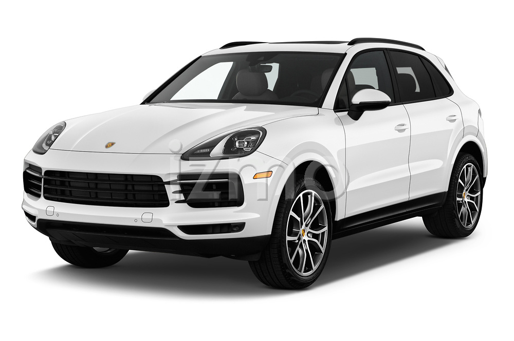 2019 Porsche Cayenne Base 5 Door SUV angular front stock photos of front three quarter view