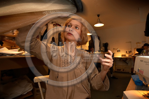"""BERLIN - GERMANY 15. January 2007 -- The danish fashion designer Sarah HeartBo (given name: Elbo), 34, in her workshop and atelier in Oderbergerstrasse in Berlin-Prenzlauerberg -- PHOTO: CHRISTIAN T. JOERGENSEN / EUP & IMAGES....This image is delivered according to terms set out in """"Terms - Prices & Terms"""". (Please see www.eup-images.com for more details)"""