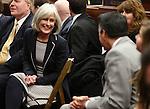 Nevada Supreme Court Supreme Justice Kris Pickering talks with Gov. Brian Sandoval before U.S. Senate Majority Leader Harry Reid's address at the Legislature, in Carson City, Nev., on Wednesday, Feb. 20, 2013. .Photo by Cathleen Allison