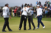 29th September 2017, Windross Farm, Auckland, New Zealand; LPGA McKayson NZ Womens Open, second;  Wales' Amy Boulden hugs USA's Emily Tubert on the 18th