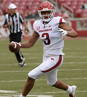NWA Democrat-Gazette/ANDY SHUPE<br /> Arkansas receiver Koilan Jackson (3) carries the ball Saturday, April 6, 2019, after making a catch during the Razorbacks' spring game in Razorback Stadium in Fayetteville. Visit nwadg.com/photos to see more photographs from the game.