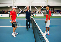 19-01-14,Netherlands, Rotterdam,  TC Victoria, Wildcard Tournament, ,   Final,  Alban Meuffels (NED) (L) and   Fabian van der Lans (NED) umpire Rob Mulder does the toss.<br /> Photo: Henk Koster